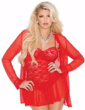 Red Lace Lingerie Set Small S Women 3 Pc Babydoll Jacket Panty Long Sleeve Sheer