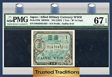 Tt Pk 67d 1957 Japan 1 Yen Pmg 67 Epq Superb Gem Uncirculated