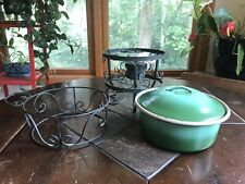 Vintage Enamel Chafing Dish Warmer Wrought Iron 3 leg Stand with Burner 3 Pieces