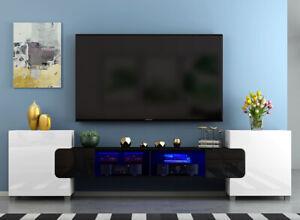 Large TV Unit Stand Cabinet Matt Body and High Gloss Doors, RGB LED Lights