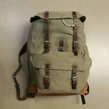 Swiss Vintage 1963 A. Kauz Salt and Pepper Leather and Canvas Rucksack Backpack