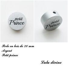 Perle en bois de 20 mm, Perle plate, Petit prince, Couronne : Argent