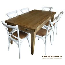 IOWA SOLID OAK Extension DINING Table + 6 White Cross Back Chairs
