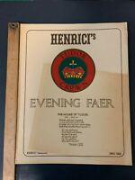 Vtg Restaurant Menu Henrici's Chicago Illinois