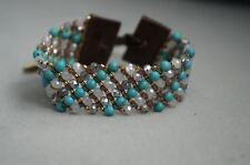 NEW Chan Luu Turquoise Semi Precious Stone Swarovski Crystal Cuff Wrap Bracelet