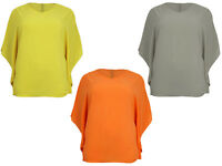 Womens Ladies Chiffon Batwing Poncho Over Size Top  Blouse Baggy T-Shirt 8-14