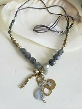 NWT SILPADA *ETHEREAL* PYRITE/LABRADORITE/STERLING/BRASS/SUEDE NECKLACE N3244