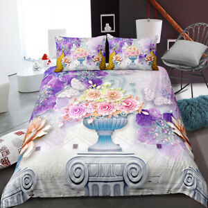 3D Animals Beautiful Peacock and Flower Quilt Cover Set Single Double Queen King