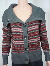 Eddie Bauer L Sweater Cardigan Fair Isle Rabbit Angora Wool Blend Shawl Collar