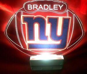 New York Giants NY NFL Night Light Personalized LED Plug In, Dusk to Dawn Sensor