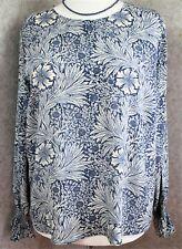 WILLIAM MORRIS @ H&M ~ size 16 ~ blue & cream floral print, loose fit top