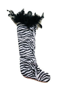22 In Tiger Print Fur White Christmas Stocking