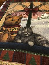 "American Weavers ""Christmas Bear & Cat "" Throw/Blanket Fringed 50"" X 57"""