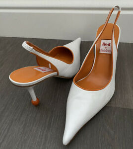 RED by RAMON TENZA Spike Slingback WHITE ORANGE Ball Leather Shoes 8.5 39 Spain