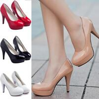 AU Women Patent Leather Round Toe Stiletto High Heel Platform Pump Working Shoes