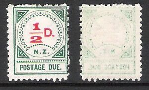 NEW ZEALAND 1899 DUES 1/2d SINGLE (MNH) *RED DOT FLAW & FAINT OFFSET*
