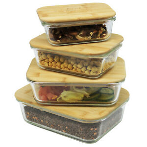 Airtight Borosilicate Glass Food Storage Container Bamboo Lid Bento Box BPA Free