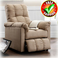 Slim Recliner Chair Lounger Lazy Cushion Upholstered Soft Beige Microfiber