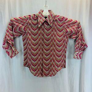 1970s v neck collared  blouse vintage 70s brown printed long sleeve shirt medium