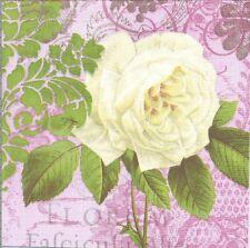 Lot de 2 Serviettes en papier Fleur mystique Rose blanche Decoupage