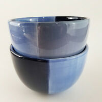 """Set of 2 Quadrettini Blue Cereal Bowls Two Tone Tabletops Unlimited 6"""""""