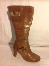 Fiore Leather Brown Knee High Leather Boots Size 5
