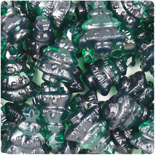 24 Emerald Green Transparent 25mm Christmas Tree Pony Beads Made in the USA