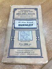 Vintage road map 60 miles round Burnley