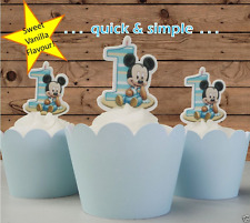 #514. baby mickey mouse striped 1st first birthday EDIBLE wafer cupcake toppers