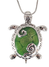 """Silvertone Large Green Sea Turtle Pendant Necklace 18"""" Chain Fast Shipping"""