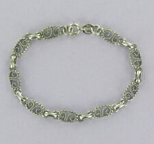 Filigree Link Bracelet Sterling Silver 925 Scroll Design 7-1/2 inch