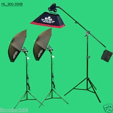 900w Halogen Light Kit w/ Boom Stand & Umbrella Photo Lighting Studio Continous