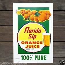 Vintage Original FLORIDA ORANGE JUICE DINER WALL Cardboard Sign 1950s Unused NOS