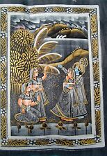 VINTAGE INDIAN CLASSICAL PAINTING OF RADHA KRISHNA WITH THEIR FRIENDS ON SILK