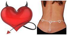 "New - Sexy Silver ""4 Hearts"" Crystal Rhinestones Women's Adjustable Waist Chain"