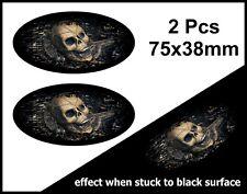 2pcs OVALE FADE TO BLACK con Gotico Teschio all'interno Auto Adesivo Vinile Decalcomania 75mm