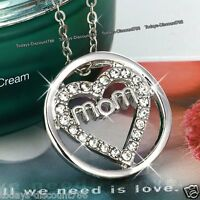 MOTHERS DAY - MOM Heart Crystal Pendant Necklace Xmas Gifts For Her Mum Mother