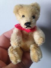 "RARE STEIFF Miniature Antique Vintage 3.5"" Mohair BLOND BEAR NO ID NICE SO CUTE"