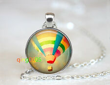 Hot air balloon Up glass dome Tibet silver Chain Pendant Necklace wholesale