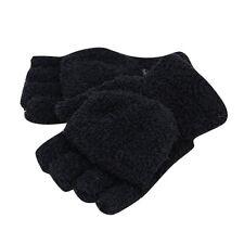 Unisex Women Men Knitted Fingerless Winter Gloves Soft Warm Mittens black