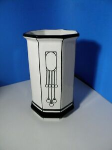 8-Eck Vase - im Stil der Wiener Werkstätte - Keramik mit Handmalerei - 27cm