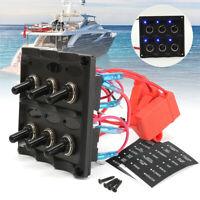 Waterproof 12V-24V Car Boat Marine 6-Gang Toggle Switch Panel Fuse Kit Set AU
