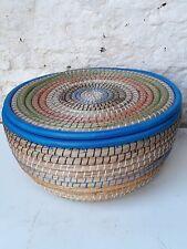 Large Ethnic Artisan Woven Basket   Brand New  Blue