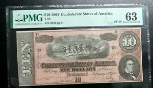 T-68 $10 1864 Confederate Currency CSA PMG 63 CHOICE UNCIRCULATED  PF 39