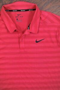 Nike Golf Dri-Fit Polo Shirt Pink/Red Stripe Men's Large L