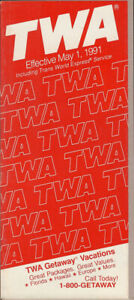 TWA Trans World Airlines system timetable 5/1/91 [308TW] Buy 4+ save 25%