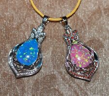 fire opal Cz necklace pendant gems silver jewelry Medieval Renaissance style