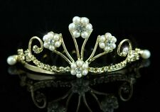 DELIGHTFUL MINI TIARA IN GOLDTONE WITH PEARLS AND HIGH QUALITY AUSTRIAN CRYSTALS