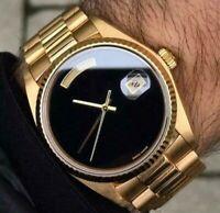 GENEVA DAYDATE AUTOMATIC 18K GOLD SAPPHIRE GLASS CASUAL DRESS STYLE MEN HW WATCH