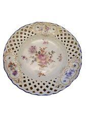 C19TH Meissen dipinto a mano a piastra decorata Floreale-STAFFA DI FISSAGGIO A/F
